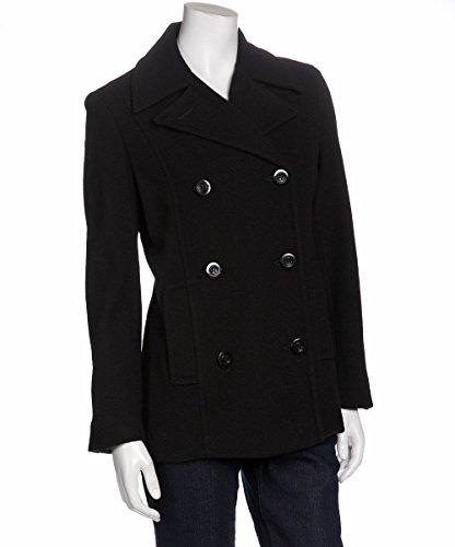 (Trendz Women's Wool Classic Peacoat, Black,)