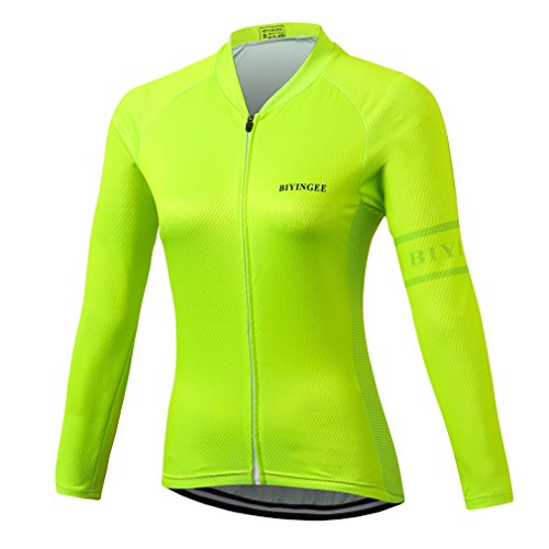 BIYINGEE Women's Cycling Jersey Long Sleeve with Reflective Stripe Fluorescence Green Size XXXL(CN) ()