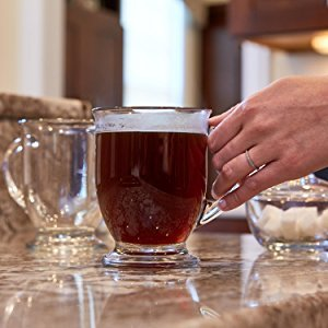 6 Footed Mugs (Anchor Hocking Café Glass Coffee Mugs, 16 oz (Set of 6))