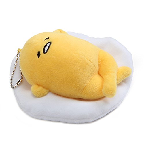 Gudetama the Lazy Egg Keychain by GUND with Sticker Pack (Face Up Laying Down, (Aurora Down Pillow)