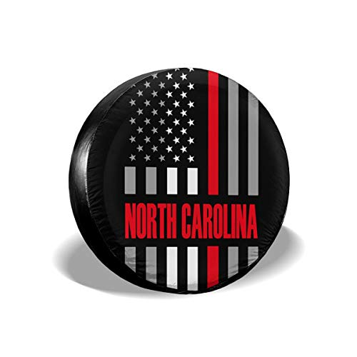 XUQI-GO North Carolina USA Thin Red Line Flag Spare Wheel Tire Cover Waterproof for Trailer RV SUV Truck Camper Travel Trailer Accessories(14,15,16,17 Inch)
