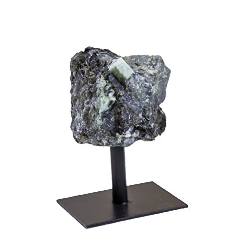 Rock Paradise Emerald Rough Stone on Metal Stand - Healing Crystals and Stones - Home Décor Accents - Chakra Stones