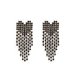 Women's Heart-Shaped Crystal Tassel Chandelier Earrings