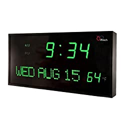DBTech JID0312GRN Big Oversized Digital Red LED Calendar Clock with Day Date and Temperature (Green)