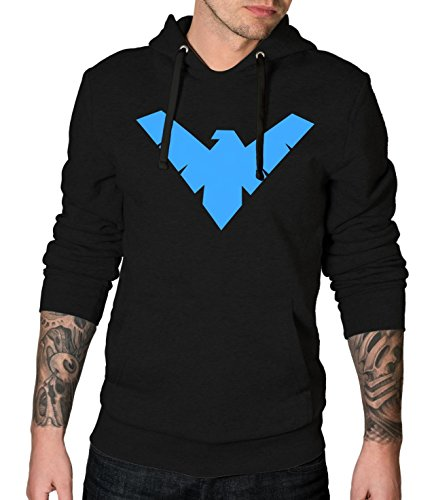 Decrum Black Long Sleeve Fleece Pullover Hoodie Mens | Nightwing, M