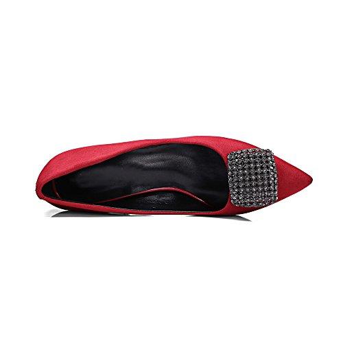 Nine Seven Moda Cuero Puntiagudos Zapatos de Tacón de Aguja con Diamantes de Imitacion de Vestir para Mujer Rojo