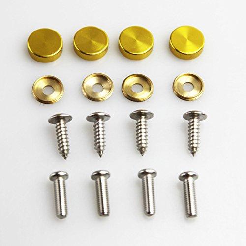 Set of 4 Anti Rust Resistant Stainless Steel Screw+Gold Aluminum Screw Caps not plastic cap for License Plate frame ()