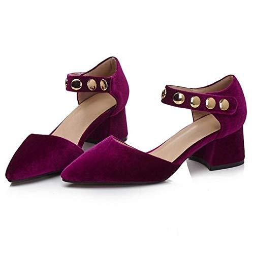 básica Zapatos Pink Pink Chunky de Tacones Purple Spring Blue Mujer Suede ZHZNVX Bomba Heel Y4xO6d4