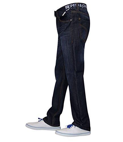 hombre corte rígida Jones cinturón Oscuro amp; recto Regular pantalones Jeans Denim sin New funda Lavado para para Smith F5xCCqP4