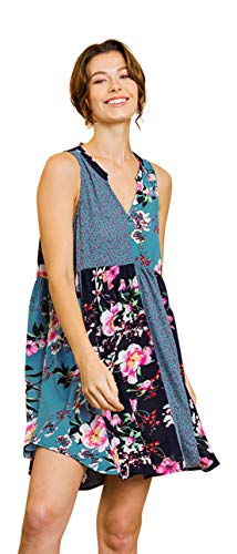 Umgee Women's Floral Mixed Print Babydoll Mini Dress