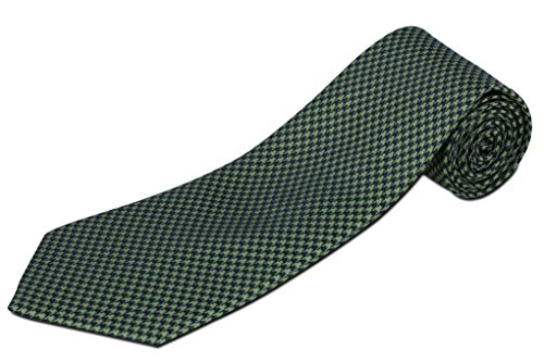 Extra Long Green and Navy Houndstooth Silk Tie