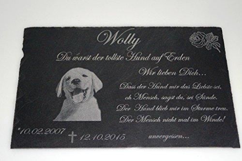 Gedenktafel mit Foto Grabstein Gedenkstein mit Gravur ( NEU !! auch mit Motiven ) ca. 30 x 20 cm für Tiere / Hund Katze Pferd mit Foto- und Textgravur - kein Druck schönes Andenken an die Liebsten