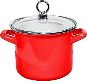 Calypso Basics 59600 Enamel Stock Pot with Glass Lid, 1.5 quart, Red by Calypso Basics