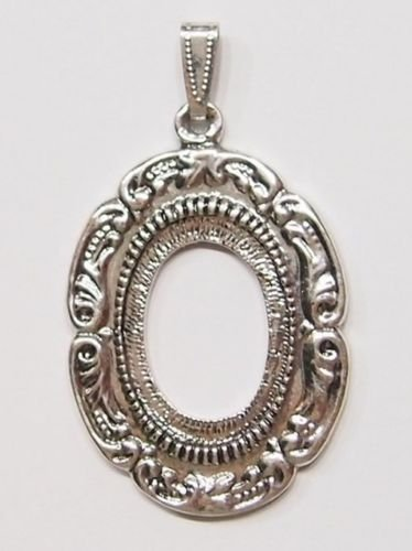 Scroll Pendant Setting - 4 Pcs of Antique Silver Plated Victorian Art Nouveau Scroll Pendant Setting