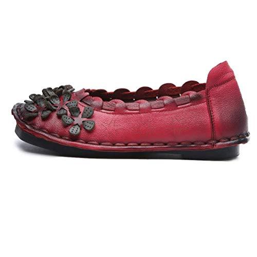 La Rouge Femmes Qiusa 7 Pour Taille À Mocassins En Uk Fleurs 7 coloré Rouge Faits Avec 5 Cuir Main CRRUXqxw