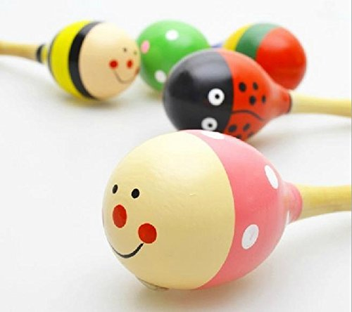 New Wooden Maraca Wood Rattles Egg Shaker Kids Musical Party Favor Kid Baby Shaker Sand Hammer Toy by E Support (Image #2)