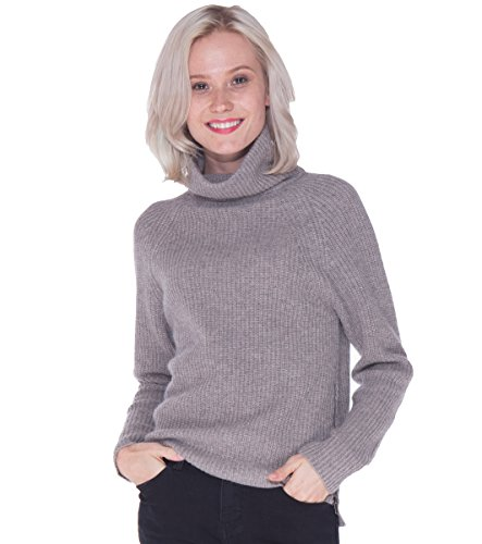 Brown 100% Cashmere Sweater (LEBAC Women's 100% Cashmere Thick Turtleneck Sweater With Zipper Side Slits)