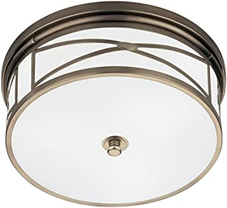 product image for Robert Abbey D1985 Flush Mounts with White Glass Shades, Dark Antique Nickel Finish