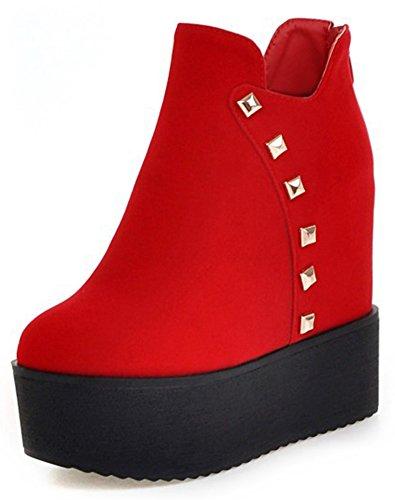 Idifu Femmes Élégant Rivet Zip Up Talon Haut Talon Plate-forme Courte Cheville Bottes Rouge