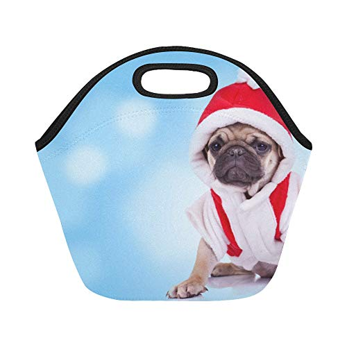 Insulated Neoprene Lunch Bag Cute Pug Puppy Wearing A Santa Claus Costume On A Large Size Reusable Thermal Thick Lunch Tote Bags For Lunch Boxes For Outdoors,work, Office, -