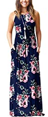 *GRECERELLE Women's Sleeveless Floral Print Racerback And Long Sleeve Loose Plain Maxi Dresses Casual Long Dresses With Pockets *High quality fabric with exquisite workmanship,and comfy wear,simple design maxi long dresses for women, casual s...