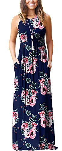 GRECERELLE Women's Casual Loose Long Dress Sleeveless Floral Print Maxi Dresses with Pockets Navy Blue-L