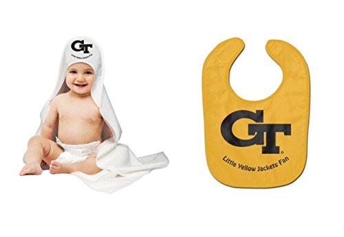 NCAA Georgia Tech Yellow Jackets Baby Bib & Hooded Bath Towel (Georgia Bib)