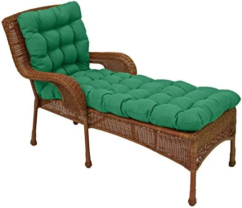 Blazing Needles Squared Outdoor Solid Spun Polyester Tufted Chaise Lounge Cushion, 74 x 19 , Emerald