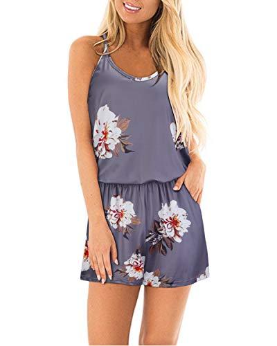 STYLEWORD Women's Sexy Beach Floral Print Short Romper Jumpsuit(Floral04,XL) ()