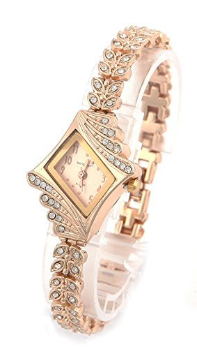 COCOTINA Brand New Lady Women Quartz Rhinestone Crystal Wrist Watch Rhombus gold surface