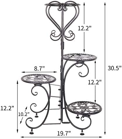 unho Metal Plant Stand 4 Tier Flower Shelves Pot Holder for Small Planters Succulents Display Indoor Home Patio Garden, Black