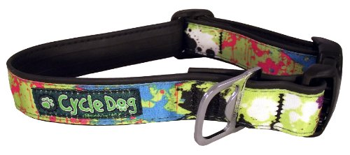 Cycle Dog Bottle Opener Recycled Dog Collar, Green, Base Paint Splatter, Medium