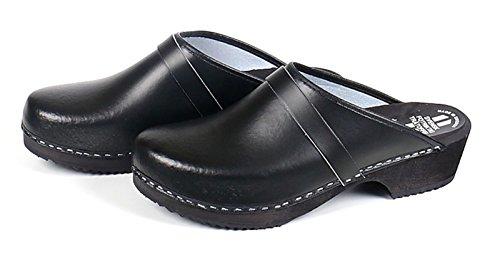 48 Schuhgr枚脽en in geformter in Leder aus mit 39 Holzsohle schwarz den lieferbar Schwedenclogs 7STBqnwv