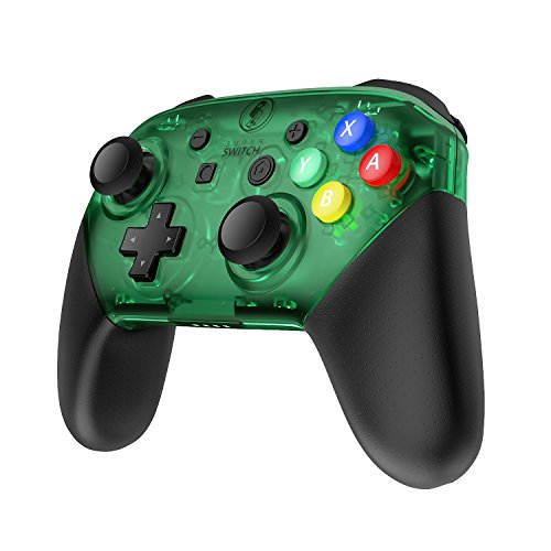 (MASCARRY Replacement Shell Case for Switch Pro Controller, Super Switch DIY Transparent Faceplate and Backplate Case with Replacement Buttons for Switch Pro Controller (Jungle Green))