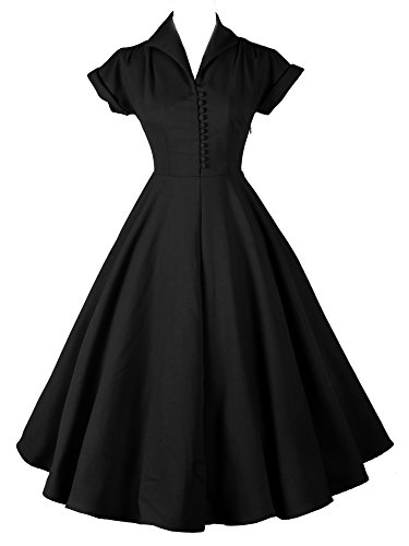 LUOUSE-Women-1950s-Vintage-Solid-Color-Pleated-Swing-Dress