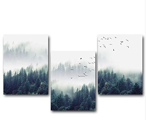 NICOLESHENTING Nordic Decoration Forest Lanscape Wall Art Canvas Poster and Print Canvas Painting Decorative Picture for Living Room Home Decor (40x50 cm, Set)