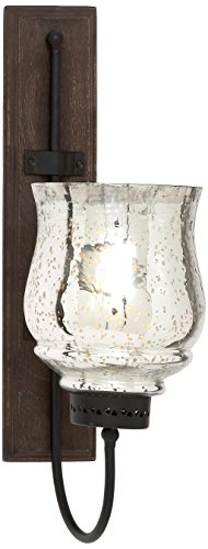 Deco 79 21 Inch Rustic Wrought Iron and Glass Hurricane Candle Sconce With Wooden Wall Mount, 9 by 21-Inch