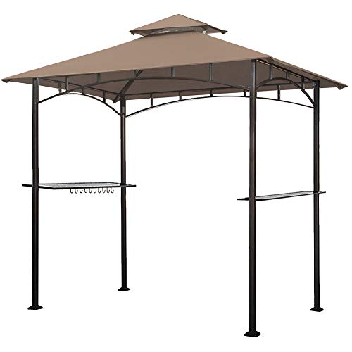 Keymaya 8x5 Grill Gazebo Shelter for Patio and Outdoor Backyard BBQ's, Double Tier Soft Top Canopy and Steel Frame with Bar Counters, Bonus LED Light X2 (Khaki)