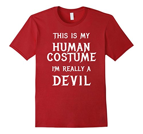 Mens I'm Really a Devil Halloween Costume Shirt Easy Funny Tshirt XL Cranberry