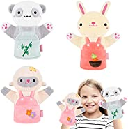 Earsam Washable Animal Friends Hand Puppets, Soft Premium Plush with Working Mouth Puppet for Parent-Child Gam
