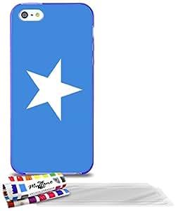 """Carcasa Flexible Ultra-Slim APPLE IPHONE 5 de exclusivo motivo [Bandera Somalia] [Violeta] de MUZZANO  + 3 Pelliculas de Pantalla """"UltraClear"""" + ESTILETE y PAÑO MUZZANO REGALADOS - La Protección Antigolpes ULTIMA, ELEGANTE Y DURADERA para su APPLE IPHONE 5"""
