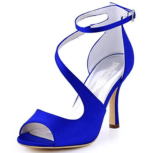 ElegantPark HP1565 Women's Peep Toe High Heels Ankle Strap Buckle Satin Wedding Evening Dress Sandals Royal Blue US ()
