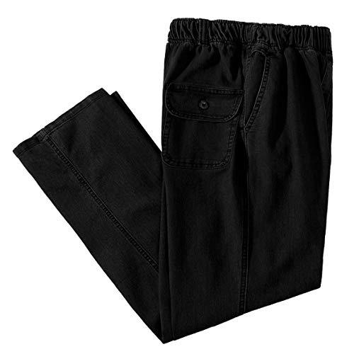 IDEALSANXUN Men's Elastic Waist Loose Fit Denim Pants Casual Solid Jeans Trouser (34, Black)