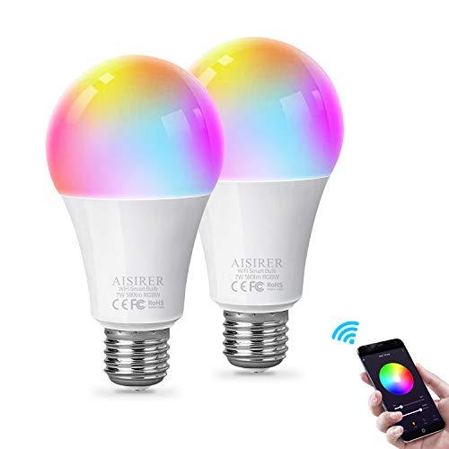 AISIRER Smart Lampe WLAN Glühbirnen Wifi Led RGBW Light Bulb E27 Birne...
