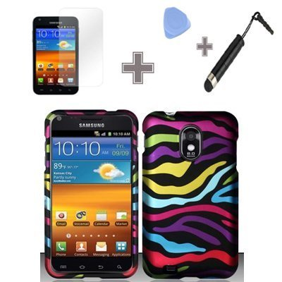 (4 Items Combo : Case - Screen Protector Film - Case Opener - Stylus Pen) Rubberized Blue Green Pink Purple Silver Colorful Bold Rainbow Zebra Snap on Design Case Hard Case Skin Cover Faceplate for Samsung Epic Touch 4G D710 Galaxy S2 (Sprint) ()