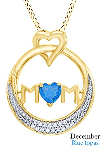 AFFY Simulated Blue Topaz MOM Circle Pendant Necklace in 14K Yellow Gold Over Sterling Silver