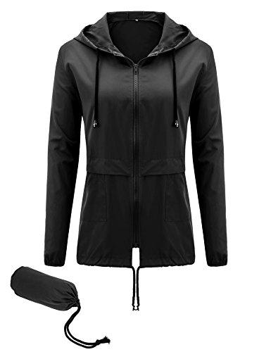 (Uniboutique Women's Waterproof Raincoat Lightweight Hooded Outdoor Rain Jacket Black XL)