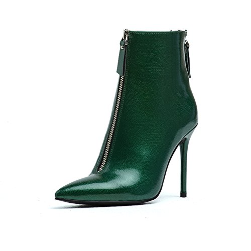 Heel Leather Black Zip B up Sexy Stiletto amp; Booties Women's Darco Boots Short Gianni Ankle Toe Pointed Genuine Green Shoes High 6pfnqRI