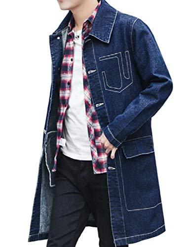 vet Fold-Collar Extra Long Cardigan Trench Coat Blue L ()