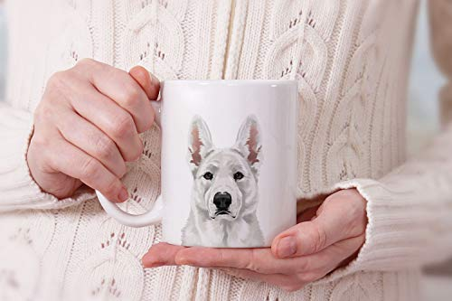 MUGBREW Cute White German Shepherd Dog Full Portrait Ceramic Coffee Gift Mug Tea Cup, 11 OZ 7